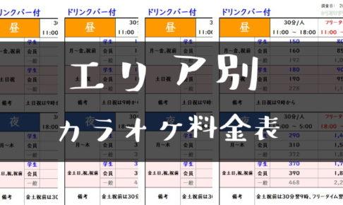 エリア別カラオケ料金表トップ