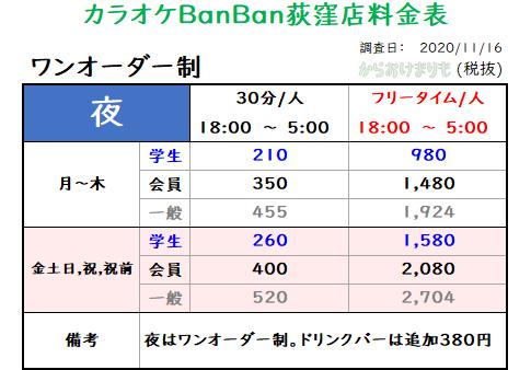 カラオケBanBan荻窪店_ワンオーダー制_料金表Ver1