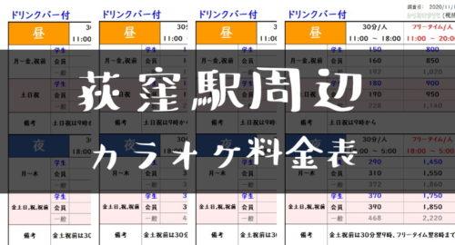 荻窪駅周辺カラオケ料金表トップ