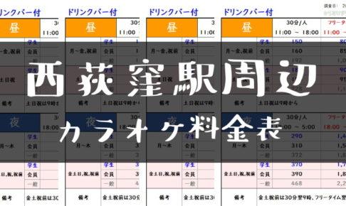 西荻窪駅周辺カラオケ料金表トップ
