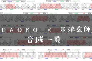 DAOKO × 米津玄師歌手音域一覧トップ