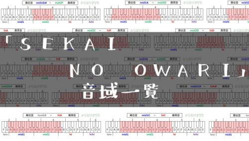 SEKAI NO OWARI歌手音域一覧トップ